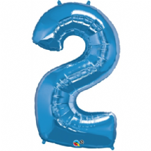 "Blue Number 2 Balloon - Foil Number Balloon 1pc (34"" Qualatex)"